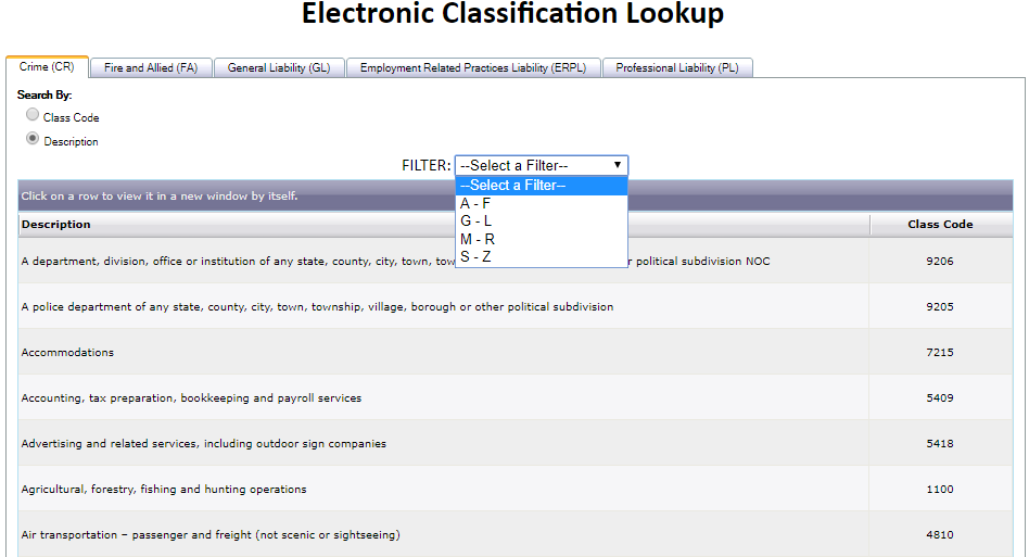 Electronic Classification Lookup